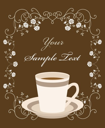 cup of coffee. Retro frame Vector