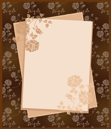 vintage paper over floral background Vector