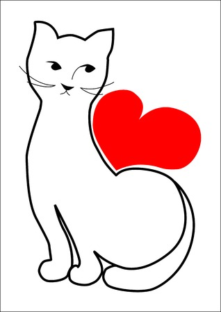 Cat is wating for your love. Vector illustration Vector