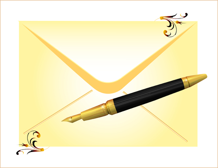 envelope and golden pen Vector