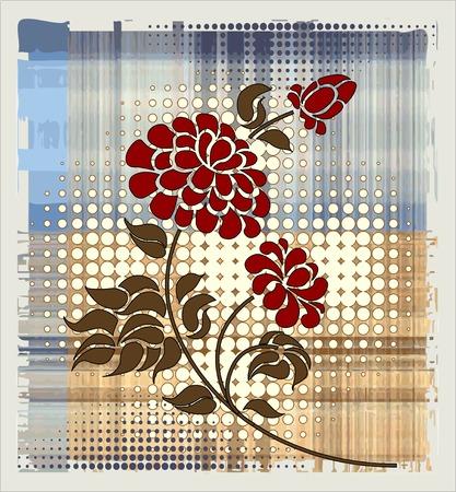 flor: rose over halftone background Illustration