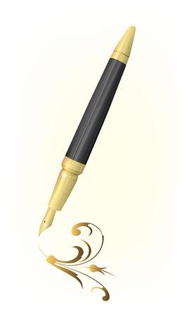 pluma de escribir antigua: dibujo de Vintage pluma dorada de arabesco