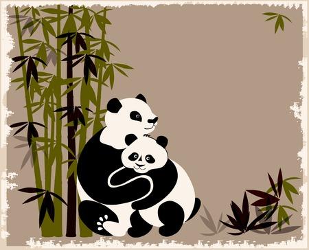 �  giant panda: familia de Pandas en el bosque de bamb� Vectores