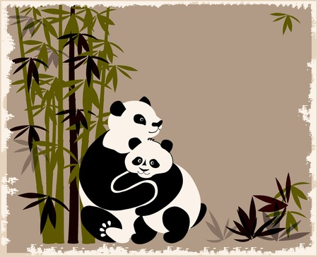 oriental ethnicity: pandas family in the bamboo forest Illustration
