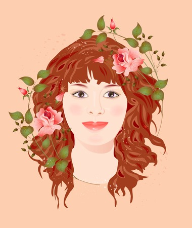 ginger girl with roses Stock Vector - 6327659