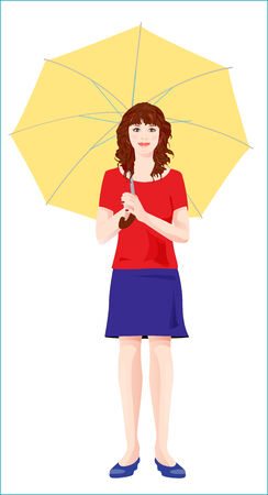 young girl with  yellow umbrella Vector