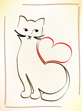 cat is waiting for your love Vector