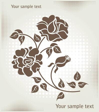 rose over halftone background Illustration