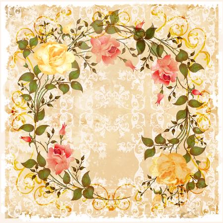 flores vintage: vintage greeting card