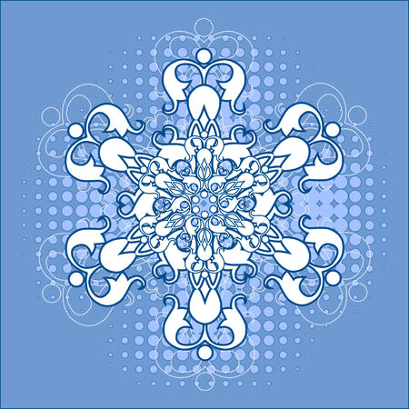 snowflake over halftone Vector