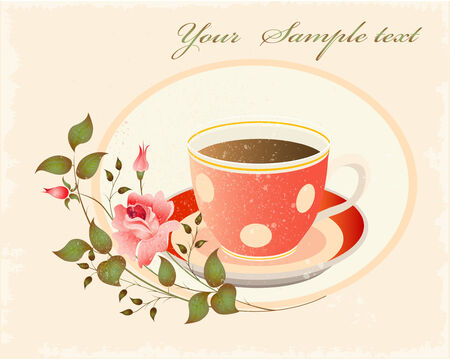 lunch break: retro cup of coffe with pink rose