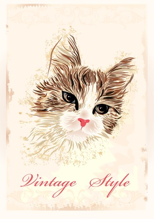 vintage portrait: vintage portrait of the cat Illustration