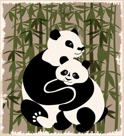 pandas family  in the bamboo forest Vector