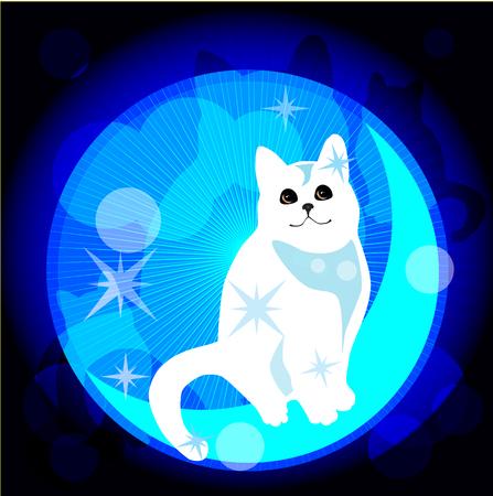 lonesome: dreaming white  cat Illustration