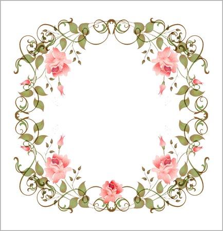 hand drown:  vintage floral frame