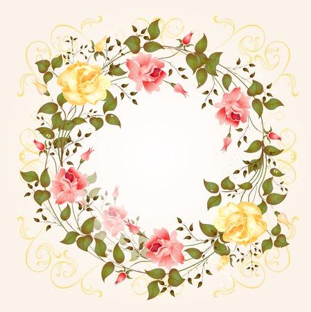 виньетка: фон с розами Иллюстрация