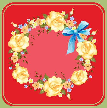 background with roses Vector