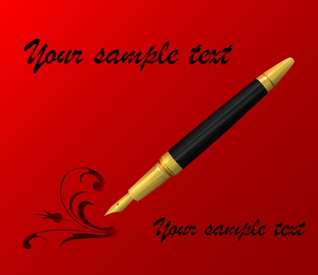 vintage pen and paper over red Stock Vector - 6853142
