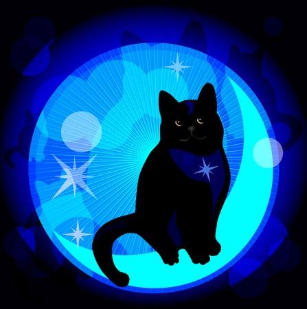 nocturnal: dreaming cat Illustration