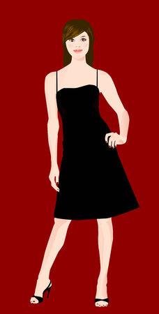 girl in black dress Vector