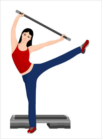young gymnastics: illustration of the girl doing sport  exercises