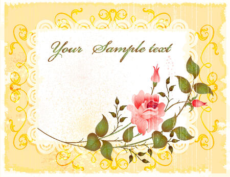 embroidery flower: vintage greeting card