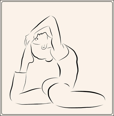 outline illustration of the  girl doing yoga exercise Vector