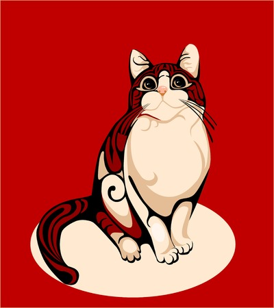 stripped: stripped cat over red background Illustration