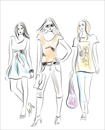 fashion shopping: ni�as de la moda  Vectores