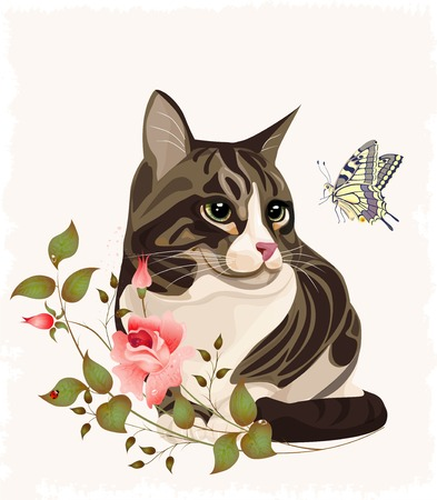 springtime flowers: cat and butterfly