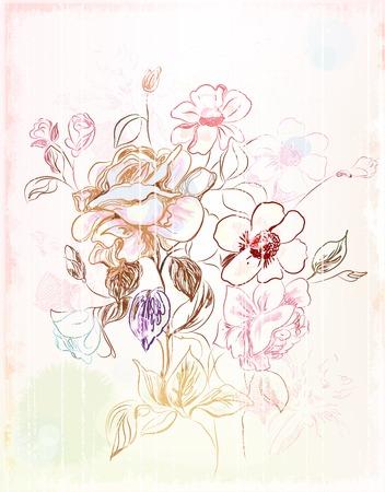 Vintage sketch dei fiori  Vettoriali