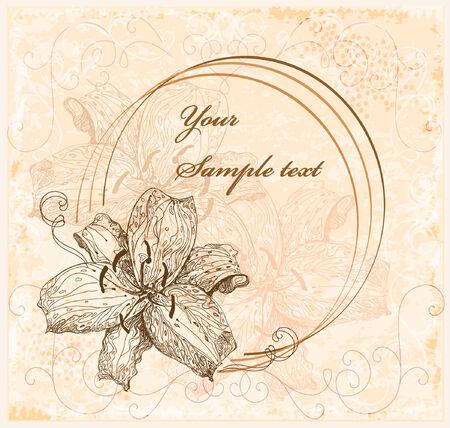 lilia: tarjeta de felicitaci�n Vintage con lilias