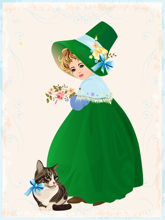 little girl and cat Vector
