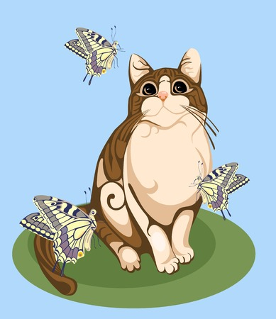 cat playing with butterflies Illustration