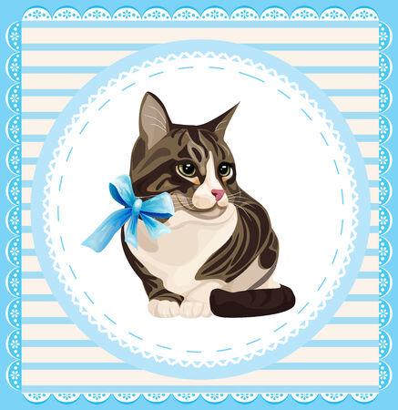 vintage portrait of the cat Vector