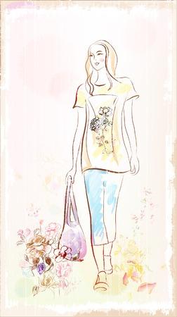 walking girl Vector