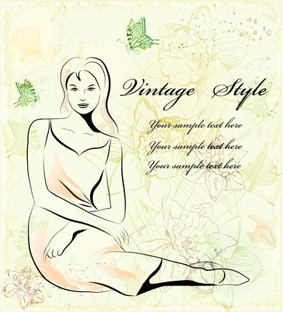 beautiful women over floral background Vector