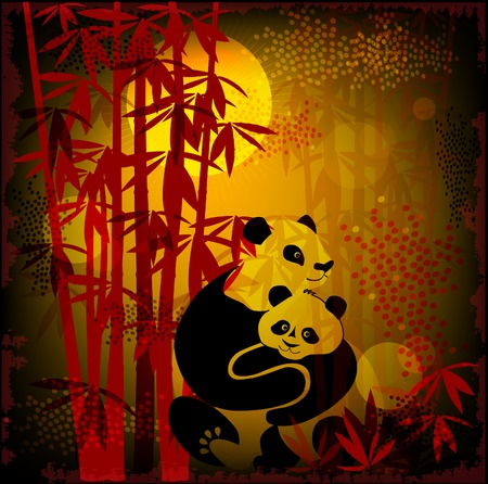 pandas in the  bamboo forest Vector