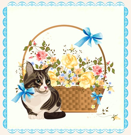 Vintage illustration of  the cat Vector