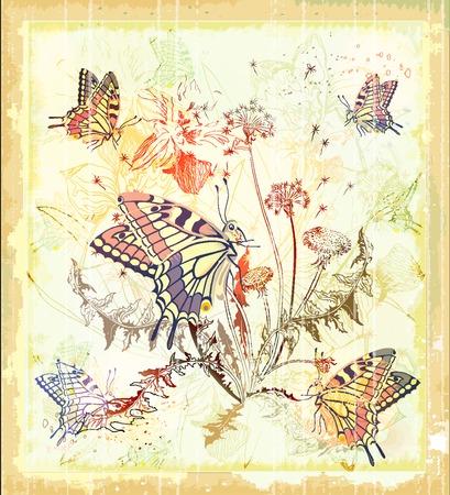 sfondo con fiori e farfalle  Vettoriali