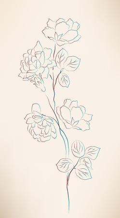 flor: vintage sketch of roses Illustration