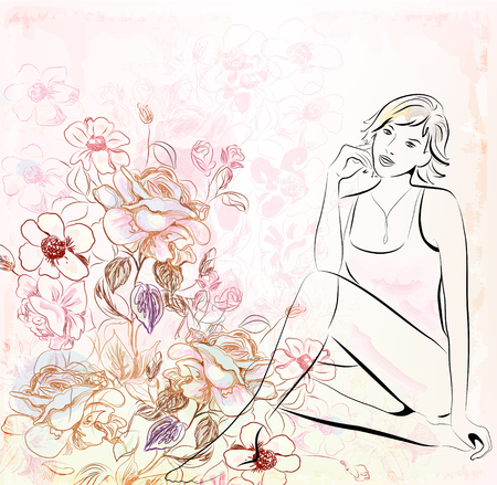 girl over floral background Illustration