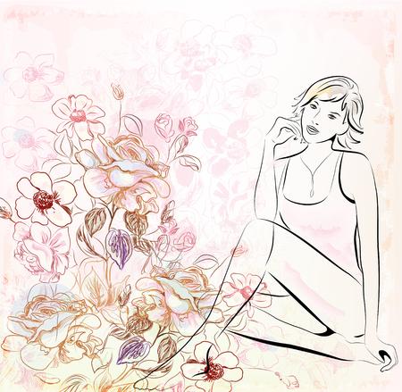 ragazza su sfondo floreale  Vettoriali