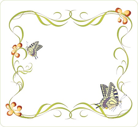 bindweed: floral frame with butterflies