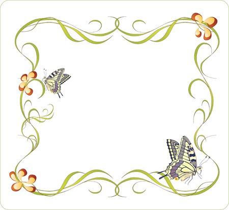 creeping: marco floral con mariposas