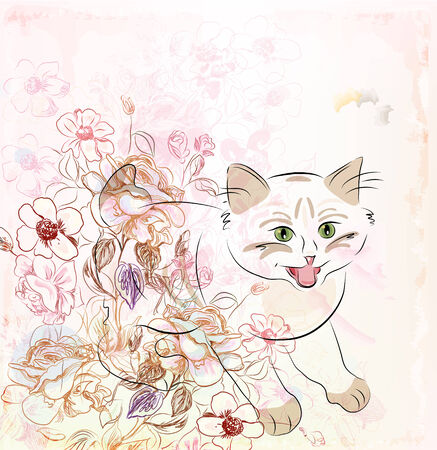purr: kitten and flowers