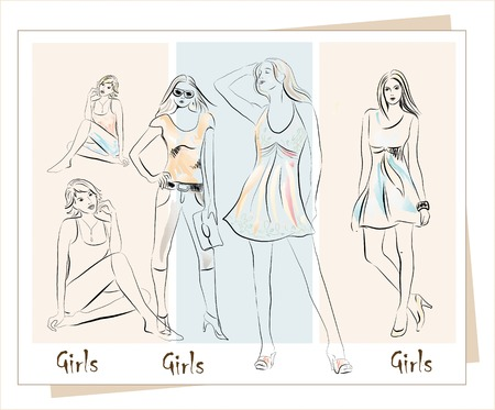 girls collection Stock Vector - 7619975