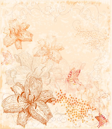 lilia: sepia floral background with butterflies Illustration