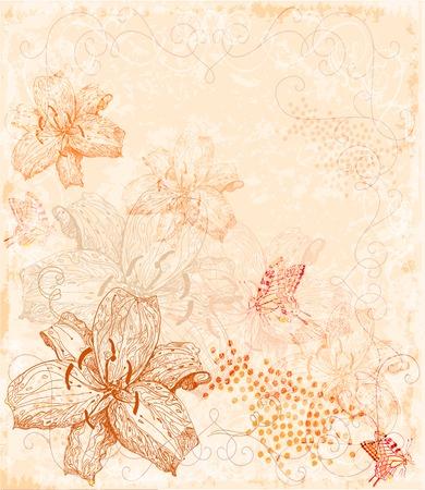 lilia: Sepia fondo floral con mariposas