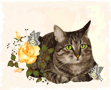 vintage greeting card with cat Vector